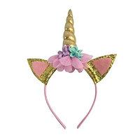 Unicorn Headband For Girls Gold Shiny Adults Pastel Flowers Birthday Party Decoration Cosplay Costume Halloween