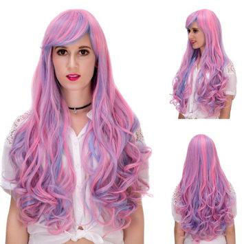 Besmall women wigs human hair wig Synthetic Hair cosplay wig halloween Purple 75