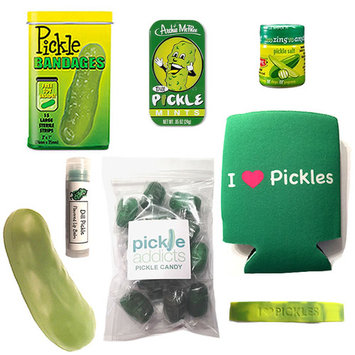 Extreme Pickle Lovers Gift Pack (8pc Set) - Pickle Bandages, Lip Balm, Mints, Stress Toy, I Love Pickles Can Koozie, Candy, I Heart Pickles Wristband & Dill Pickle Salt