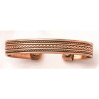 Wide and Narrow Braids - Copper Bracelet With Magnets - From India