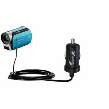 Gomadic Intelligent Compact Car / Auto DC Charger suitable for the Panasonic SDR-S26 Video Camera - 2A / 10W power at half the size. Uses Gomadic TipE
