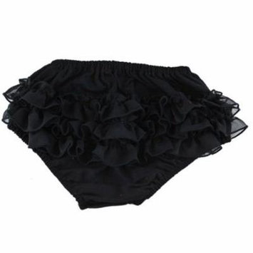 Reflectionz Baby Girls Black Ruffle Cotton Diaper Cover Bloomers 3-18M
