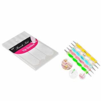 Zodaca 5pcs 2 Way Dotting Tools Painting Pen Nail Art Paint Tool+French Nail Art Tips Tape Sticker Guide DIY Stencil - Bundle Set