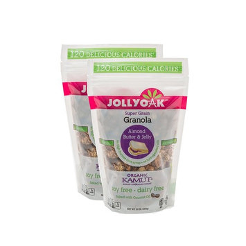 Jolly Oak Super Grain Granola, Almond Butter & Jelly, Healthy Low Calorie Granola of organic KAMUT, almond butter, almonds, real fruit and toasted oats (Pack of 2)