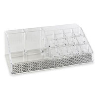 Laura Ashley Imitation Pave Diamond 16-Section Cosmetic and Jewelry Holder