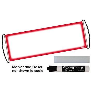 Jaymo Red Set - ZipSign Dry Erase Banner Set Includes: Banner, Black Dry Erase Marker and Eraser - Rolls Itself Up, Unrolls to 9.5