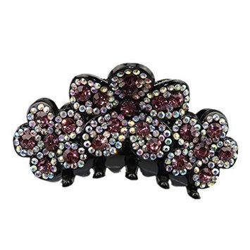 Baosity Flower Ponytail Holder Hair Clip Women Hair Claw Girl Hair Accessories Tool - Light Purple