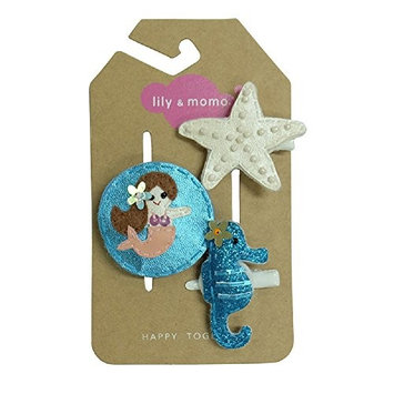 Lily & Momo Mermaid Kisses and Starfish Wishes Alligator Hair Clip, Aqua & Melon, 3 Count