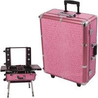 Black PRO STUDIO Aluminum Professional Makeup Artist Rolling Wheeled Organizer Trolley Cosmetic Train Case Table w/Lights