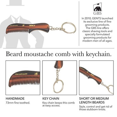 GBS Handmade Sawcut Men's Beard Mustache Comb - with Keychain - 2 3/4