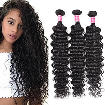 Kadoyee 24 24 24 inch Brazilian Deep Wave Hair 3 Bundles 300g 100% Unprocessed Remy Brazilian Hair Bundles Real Virgin Human Hair Weft Extensions Dyeable No Shedding Pack Natural Black Color