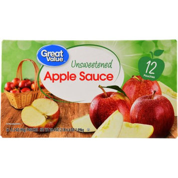 Wal-mart Stores, Inc. Great Value Unsweetened Applesauce, 12 - 3.2 oz pouches