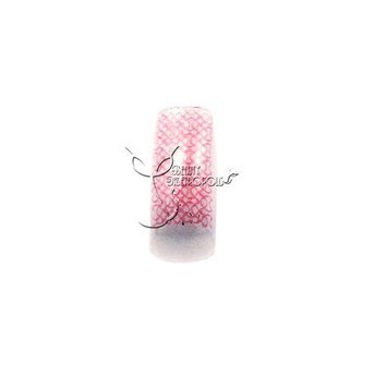 Pink Glitter Weave Pre-designed Acrylic/UV Gel Artificial/False French Nail Tips (70 pcs.)