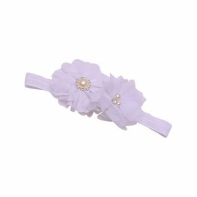 Girls White Glitter Pearl Rhinestone Adorned Flowery Stretch Hairband
