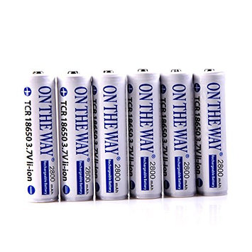 ON THE WAY®6Pcs 3.7V 2800mAh 18650 Rechargeable Li-ion Batteries for Rechargeable Flashlights