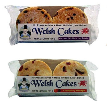 Welsh Baker Welsh Cakes - 2 Flavor Variety Box - 8 Cakes - Currant and Cranberry Orange