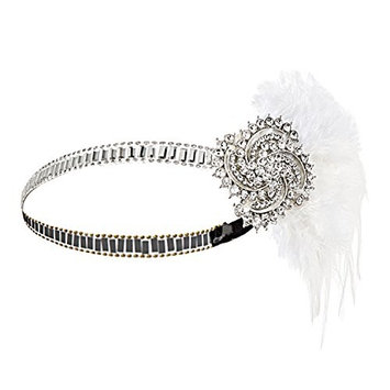 Metme Women's Vintage Headpiece Vintage Black Feather Silver 20s Gatsby Headband