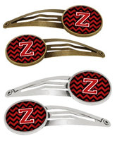 Letter Z Chevron Black and Red Set of 4 Barrettes Hair Clips CJ1047-ZHCS4