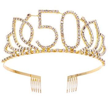 Frcolor Birthday Tiara, Rhinestone 50th Birthday Crowns Happy 50th Birthday (G