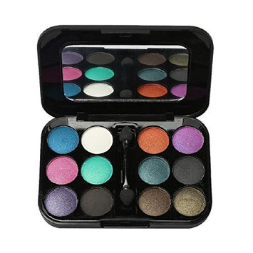 Lookatool 12 Colors Pro Eyeshadow Palette Cosmetic Brush Mirror Makeup Set