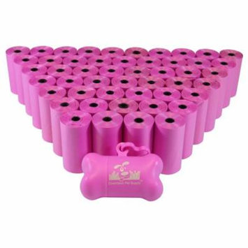 Dog Pet Waste Poop Bags, Variety Colors, Bulk Sizes, (Color: Pink) (Size 960 Bags) + FREE Bone Dispenser, by Downtown Pet Supply