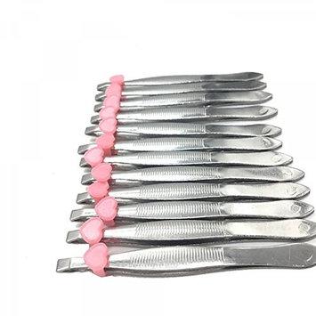 HUELE 12Pcs/pack Stainless Steel Slanted Eyebrow Tweezers Metal Eyebrow Tweezers Trimmers