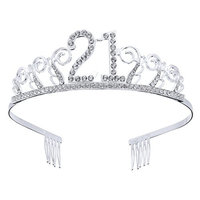 Frcolor 21th Birthday Crystal Tiara Crowns Headband with Hair Combs