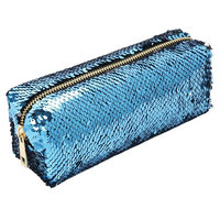 Cosmetic Bag Mermaid Sequin Makeup Pouch Double Color Makeup Bags DIY Reversible Sequins Handbag Glitter Pencil Case Sky Blue&Silver One Size