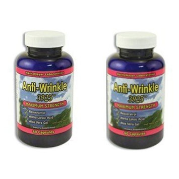 (2) Anti-Wrinkle Max Supplements 120 capsules w/ Resveratrol, Alpha Lipoic Acid, Collagen, DMAE, Hyaluronic + : Collagen Nutritional Supplements : Beauty