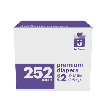 First Quality Consumer Products Jetcares Diapers One Month Supply, Size 2, 252ct