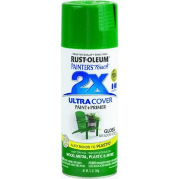 Rust-Oleum Painter's Touch Ultra Cover Meadow Green Gloss 2x Paint+Primer Enamel Spray 12 oz.(249100