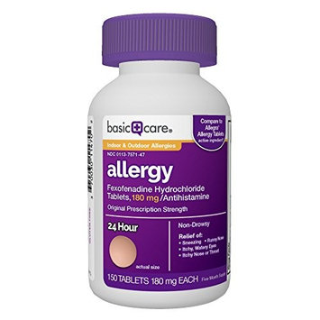 Basic Care Allergy, Fexofenadine Hydrochloride Tablets, 180 mg, 150 Count