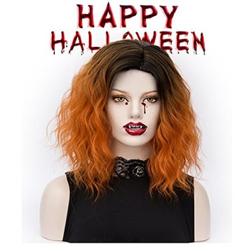 SEIKEA Short Fluffy Wig Synthetic Hair for Women Side Part Black Root Party Costume - Orange