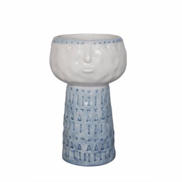Benzara Sly Face Ceramic Flower Pot In Blue And White