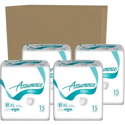 Assurance Incontinence Briefs Unisex, XL, Maximum, 15 Ct, 4 Pks, 60 Total