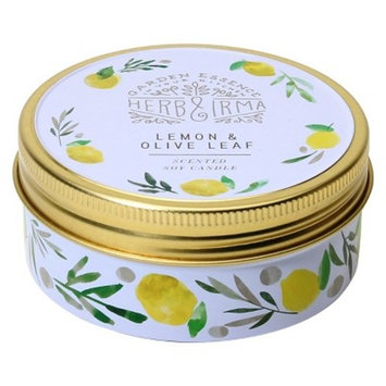 Printed Tin Candle Lemon & Olive Leaf 3.5oz - Herb & Irma®
