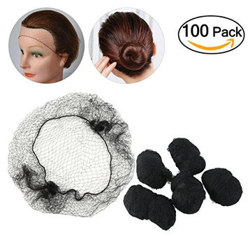 Tinksky 100pcs Hair Nets Invisible Elastic Edge Mesh Dress-up Accessories (Black)