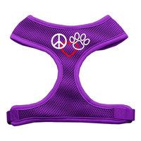 Mirage Pet Products 7018 LGPR Peace#44; Love#44; Paw Design Soft Mesh Harnesses Purple Large