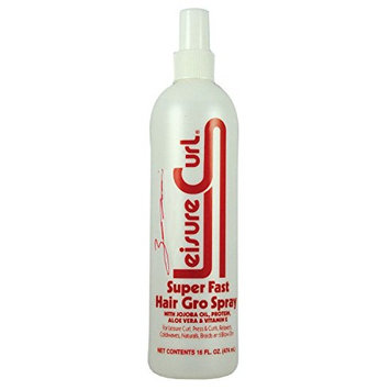 Leisure Curl Super Fast Hair Gro 16 oz Leave-In Spray With Cold Pressed Jojoba Oil, Aloe Vera & Vitamin E for Anti-Breakage Natural Heal | Good for All Hair Types Men Women & Kids