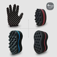 Big Holes Hair Brush Barber Curl Magic Sponge and Glove(Right) Kit For Different Styles Dreadlock Twist Afro Coils Wave Curling Men and Women Hair Care Tool Set of 4(Blend)