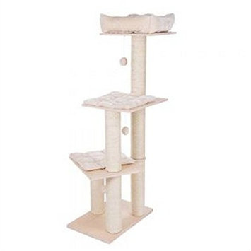 Easy To Assemble Cream Cat Tree - Ideal Space-Saver Activity Tower For Cats To Play And Climb, Made Of Sturdy Extra Thick Scratching Posts Wrapped In Natural Sisal