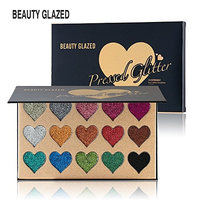 Beauty Glazed Eyeshadow Palette 15 Colors Glitter Heart Shape Ultra Pigmented Mineral Pressed Make Up Palettes Flash Colors Long Lasting Waterproof Palette For Women Girl