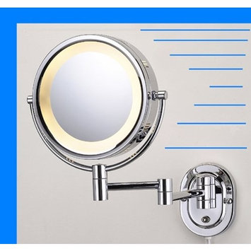 Lighted 5X Make up Mirror in Polished Chrome Finish for Makeup