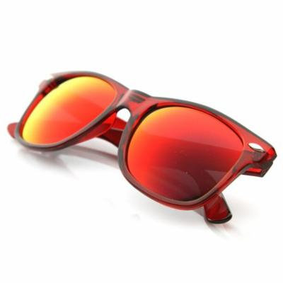 zeroUV - Classic Retro Fashion Translucent See-Through Colorful Horn Rimmed Sunglasses (Red / Fire) - mm