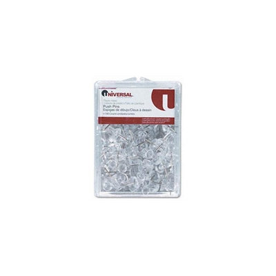 Universal Office Products 31304 Colored Push Pins, Plastic, Clear, 3/8, 100/pack