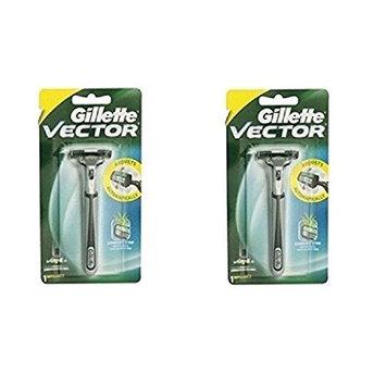 Vector Plus Razor Handle (Pack of 2) + FREE LA Cross 71817 Tweezer