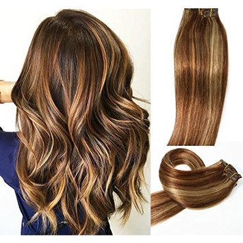 HUAYI Clip In Human Hair Extensions Medium Brown with Honey Blonde Highlights #4P27 Clip In Hair Extensions 20Inch 7PCS 16Clips Full Head Thick Long Soft Silky Straight...