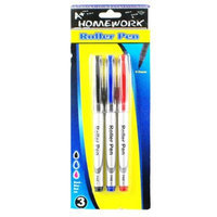 A+homework Roller Pens - 3 Pack - Black, Blue, Red Inks