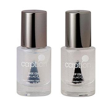 Bundle of Two Items: Caption Nail Polish Base Coat & Gloss Top Coat Set .34 oz each by Young Nails