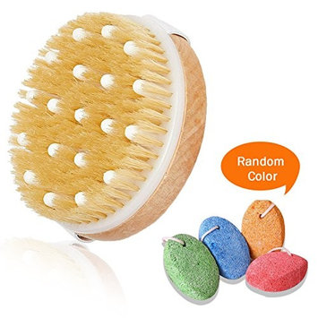 Dry Brushing Exfoliate Body Scrubber with Natural Bristles & Massage Node, Pumices Dead Skin Stone Callus Remover Included